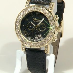 Accessories - Floating Crystal Black Leather Watch